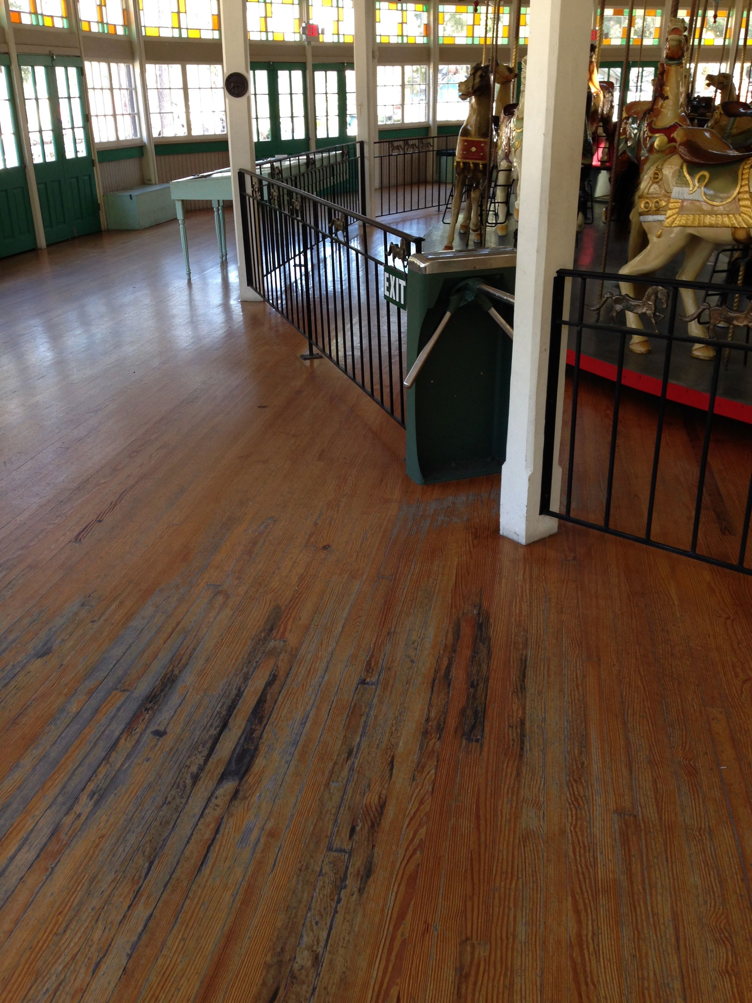 hardwood, city park, carousel, refinish