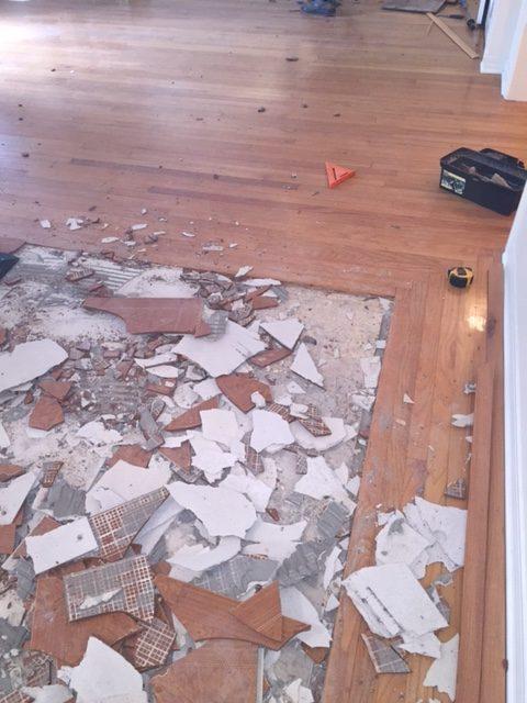tile removal, hardwood, refinish