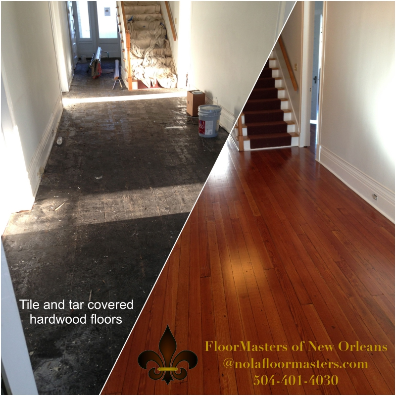 tile and tar removal, natural hardwood, heart of pine