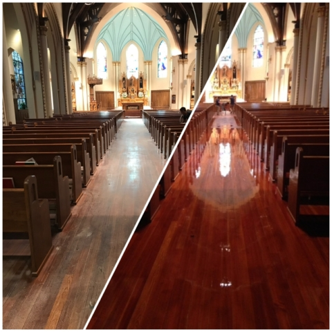 refinish, commercial business, hardwood flooring, polyurethane