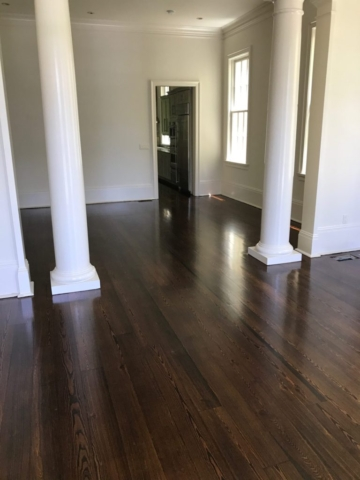 Stained Red Pine hardwood flooring